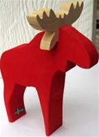"Moose red wood 6"" tall Made in Sweden"