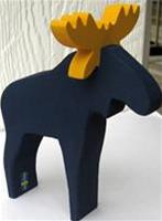 "Moose blue wood 6"" tall Made in Sweden"