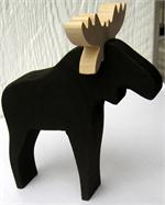"Moose black wood 6"" tall Made in Sweden"