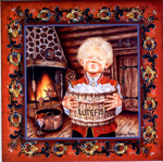 "A Christmas tile, ""the Lutefisk Boy"", 6"" x 6"""