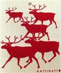 "Swedish screen printed dishwashing sponge/cloth, ""5 Reindeer"""