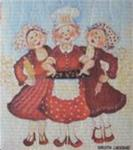 "Swedish screen printed dishwashing sponge/cloth ""3 Pepparkakor-baking Ladies"""