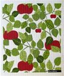 "Swedish screen printed dishwashing sponge/cloth, ""Apples with Green Leaves"""